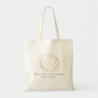 Designer Scribble Logo in Gold Personalized Budget Tote Bag