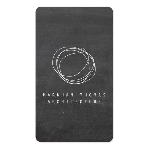 Designer Scribble Logo on Black Chalkboard Business Cards