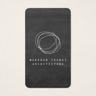 Designer Scribble Logo on Black Chalkboard Business Card
