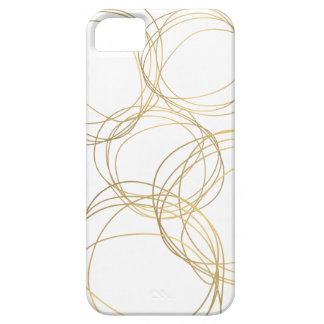 Designer Scribble Pattern in Gold on White iPhone 5/5S Covers