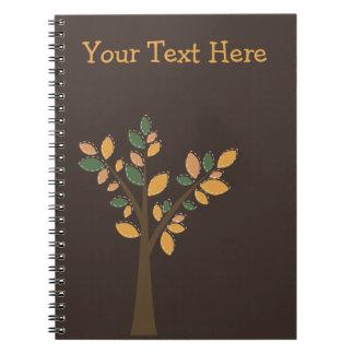 Designer Tree Brown Spiral Personalized Notebook