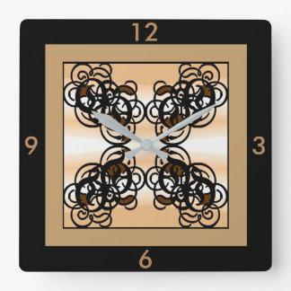 Designer Wall Clock -Home -Black/Tan/Creme/Brown