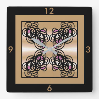 Designer Wall Clock -Home -Black/Tan/Creme/Pink