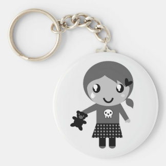 Designers badge with Little girl Basic Round Button Keychain