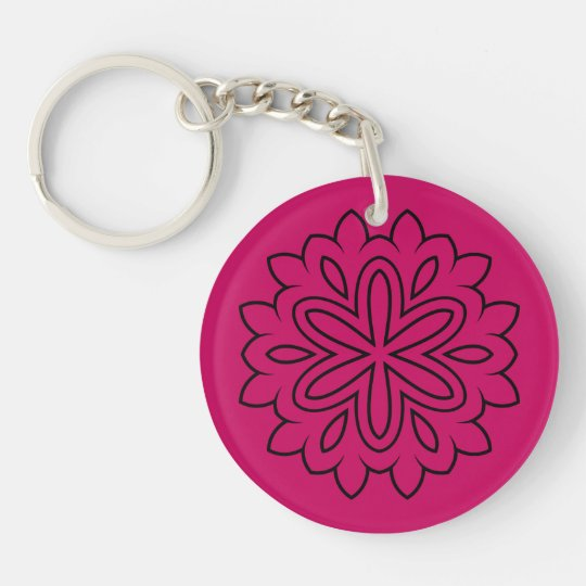 Designers button : purple with Mandala Double-Sided Round Acrylic Keychain