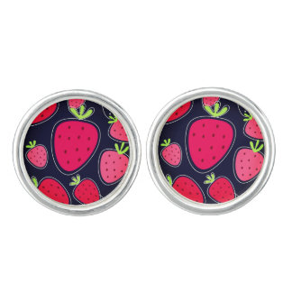 Designers cufflinks : VINTAGE with Strawberries