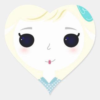 Designers cute blond Manga Heart Sticker