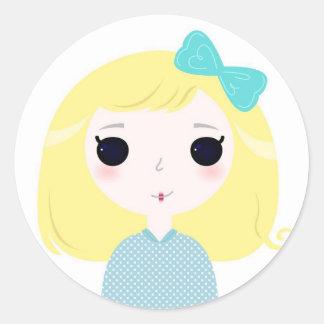 Designers cute blond Manga Round Sticker