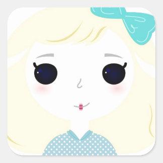 Designers cute blond Manga Square Sticker