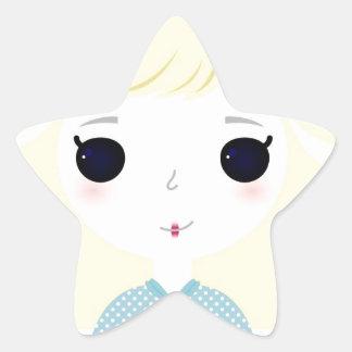 Designers cute blond Manga Star Sticker