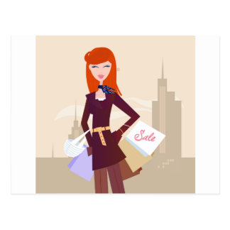 Designers edition : Shopping girl Postcard
