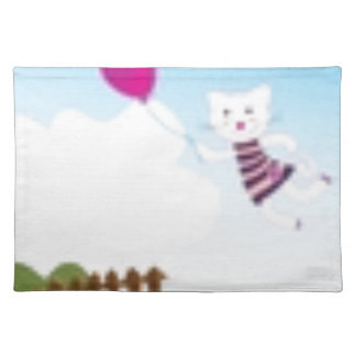 Designers flying kitten with Balloon Placemat