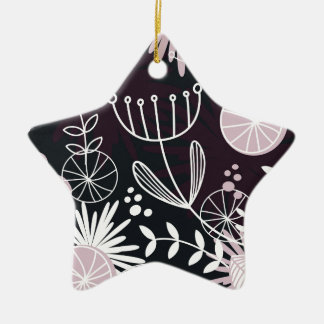 Designers folk black pattern ceramic star ornament