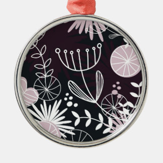 Designers folk black pattern Silver-Colored round ornament
