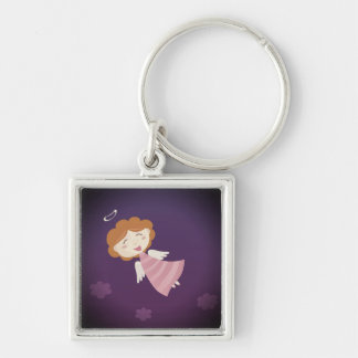 Designers kids button : Angel Silver-Colored Square Keychain