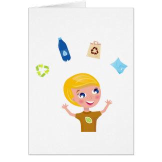 Designers little BIO School Boy with Items Card
