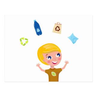 Designers little BIO School Boy with Items Postcard
