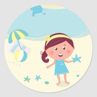 Designers mare girl with Sea star Round Sticker