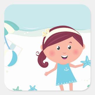 Designers mare girl with Sea star Square Sticker