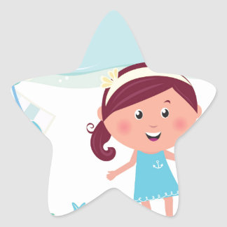Designers mare girl with Sea star Star Sticker