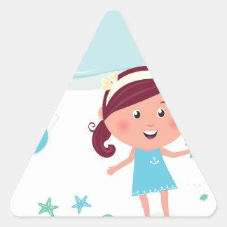 Designers mare girl with Sea star Triangle Sticker