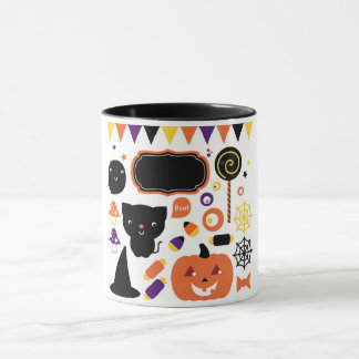 Designers mug with Halloween icons