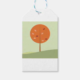 Designers orange tree on green gift tags
