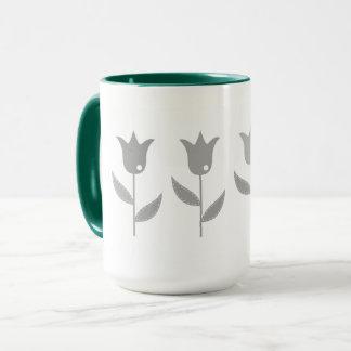 Designers original Mug with tulips
