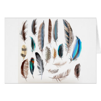 Designers paper Postcard with Feathers