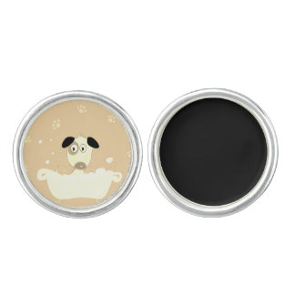Designers silver cufflinks with Dog