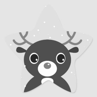 Designers Star - shaped Sticker with Reindeer