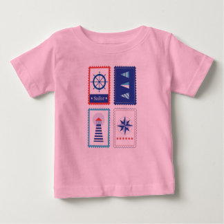 Designers t-shirt pink with Blue sailor stamps