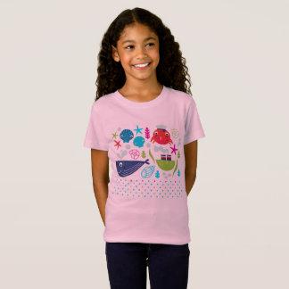 Designers t-shirt pink with Underwater animals