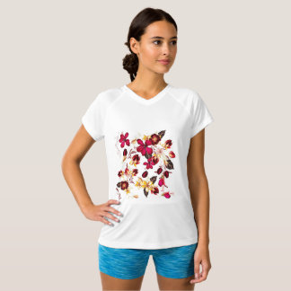 Designers t-shirt white with Red folk flowers