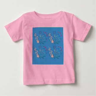Designers t-shirt with Ornaments Blue