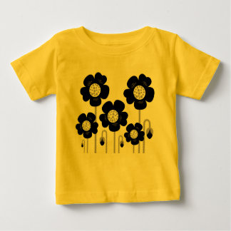 DESIGNERs t-shirt Yellow with black flowers
