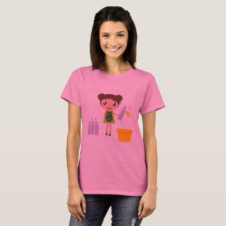Designers tshirt : Woman pink with Recycle girl
