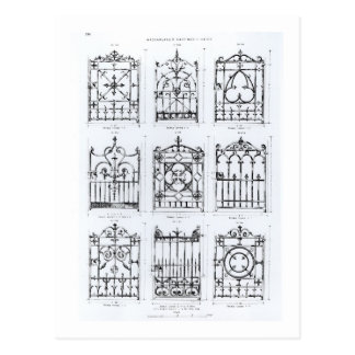 Designs for cast-iron railings, from 'Macfarlane's Postcard