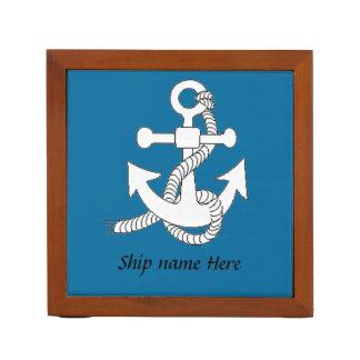 Desk Organizer - Anchor with Ship Name
