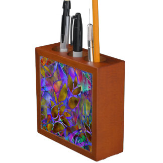 Desk Organizer Floral Abstract Stained Glass