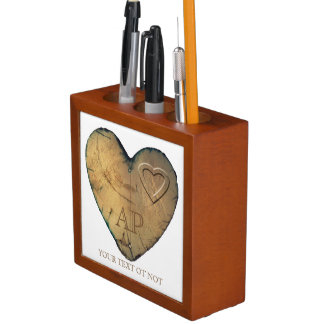 Desk Organizer Valentine - Heart in natural Wood