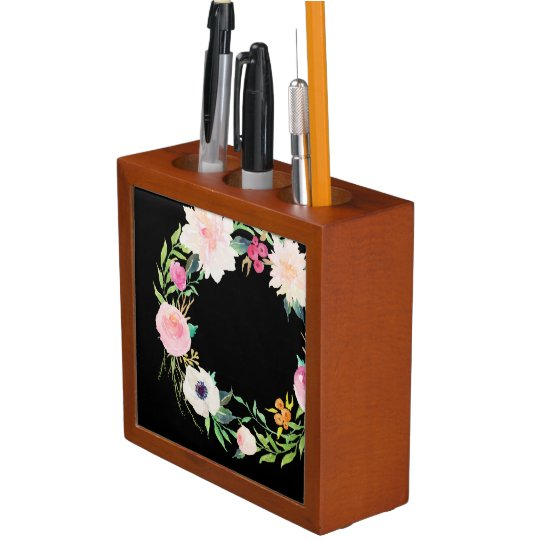 Desk Organizer, Watercolor Flower Wreath, Black Desk Organizer