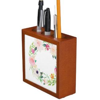 Desk Organizer, Watercolor Flower Wreath Desk Organizer