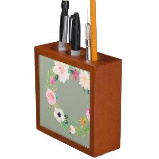 Desk Organizer, Watercolor Flower Wreath, Grey Pencil/Pen Holder