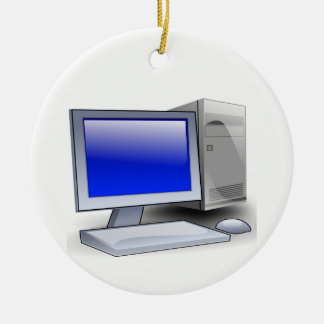Desktop Computer Ceramic Ornament