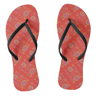 Desmidiea on Burnt Orange Flip Flops