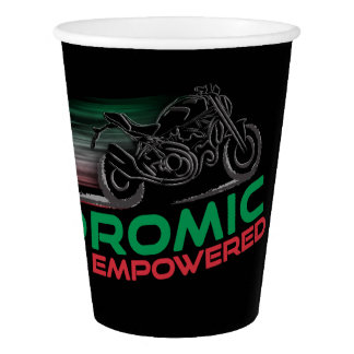 Desmodromic Empowered - Black 9 oz Paper Cup