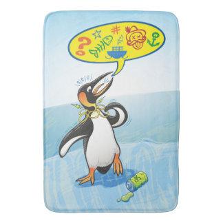 Desperate king penguin saying bad words bath mat