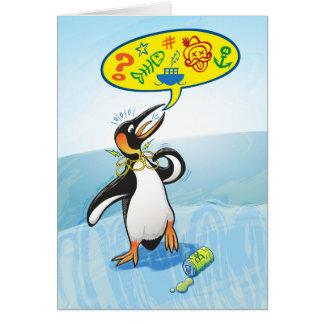Desperate king penguin saying bad words card