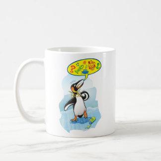 Desperate king penguin saying bad words coffee mug